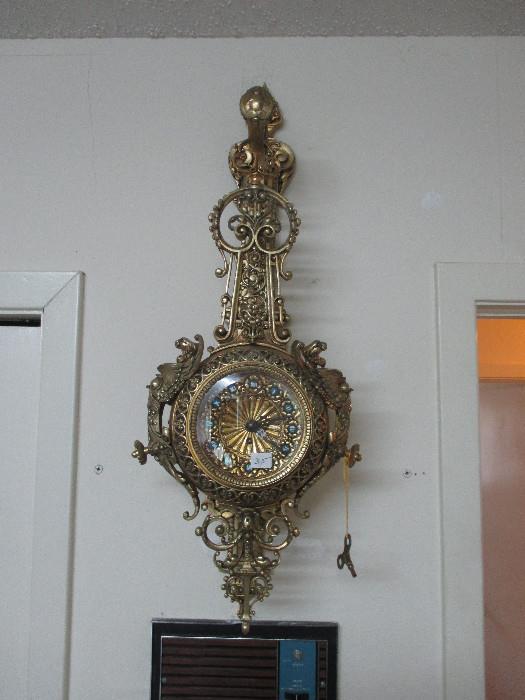 Ornate Brass Clock, Made In Spain