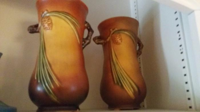 """Matching pair of Roseville """"Pinecone"""" vases."""