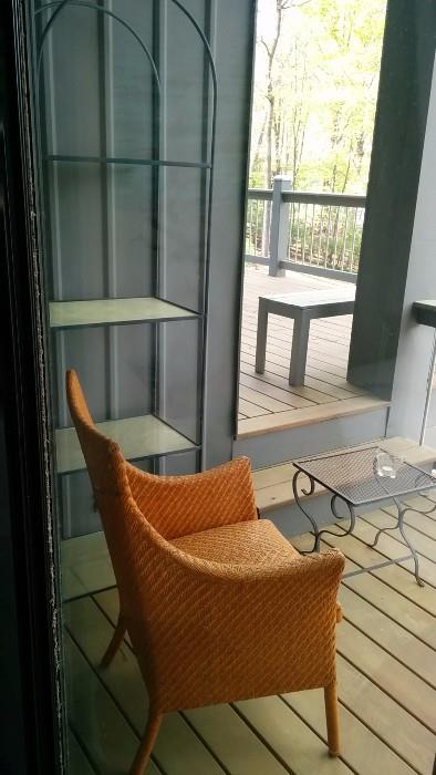 Wrought iron etagere, several small outdoor occasional tables