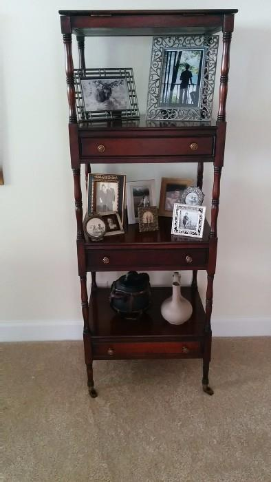 1940's mahogany etagere, w/drawers