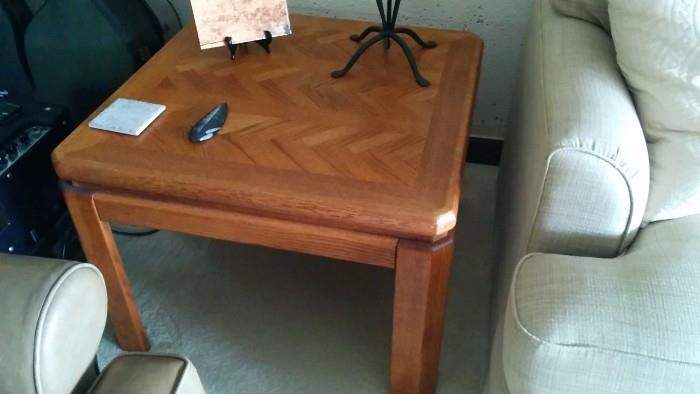 1970's glam-moor: wooden chevron side table from Bills bachelor days. Aren't you glad that Marilyn stepped into his life?