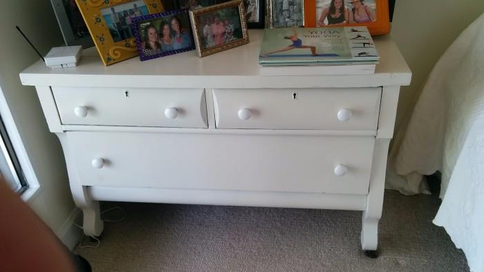 1930's dresser, painted white - just because. It seems that current furniture trends favor anything other than brown furniture.                                                            Prepare for the upcoming trend of brown furniture by learning to restore furniture that has ben defiled by Chalk Paint Mammas.