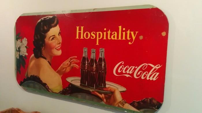 "Very large, vintage 1945 Coca-Cola advertising piece, measures 4' 6"" long x 2' 3"" wide."