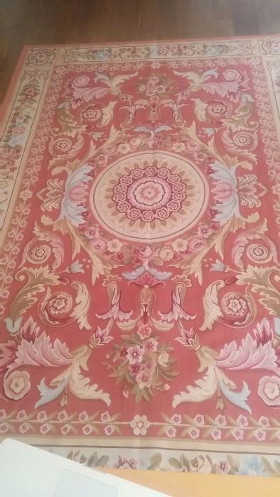 6' x 9' handwoven Aubusson rug, 100% wool