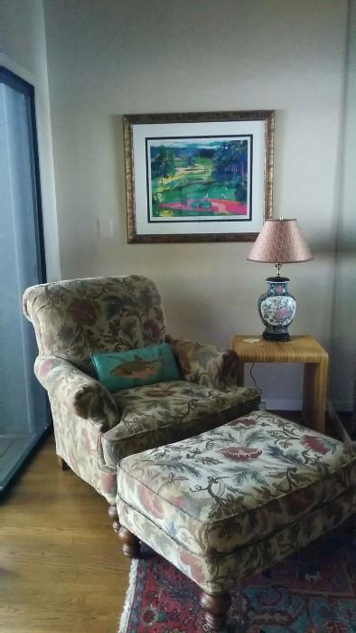 Grab a book, cup o' joe and enjoy this Clayton Marcus chair. It even has a matching ottoman empire! Framed and signed Atlanta National Golf picture, fugly Asian lamp (with a shade only its Mother could love) and pedestrian bamboo side table.