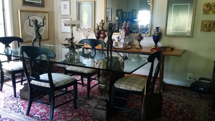 """Approximately 10' x13' hand woven Persian Tabriz, topped by an amazingly heavy glass-topped dining table. The bases are a pair of concrete, not the usual terra cotta and the glass is 1"""" thick."""