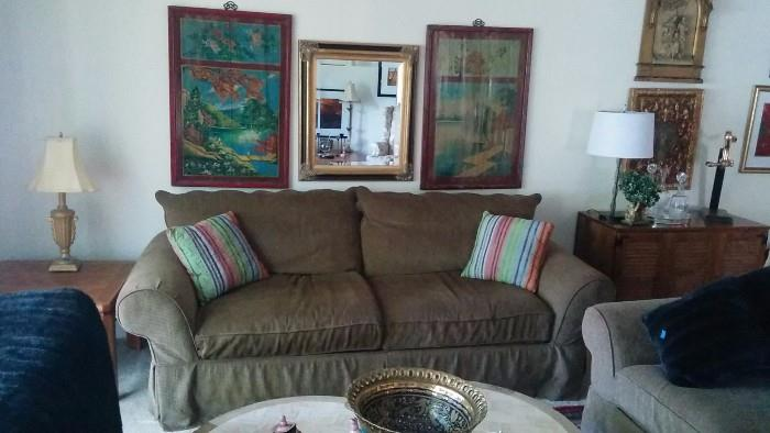 Great sofa by Clayton Marcus, + matching love seat, pair of Asian panels above.