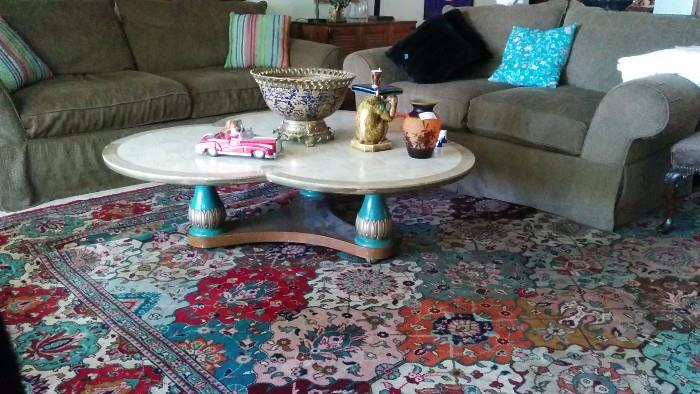 Designer 3-lobed coffee table, with limestone inlay and antiqued wooden legs - great hand woven Persian Rug!