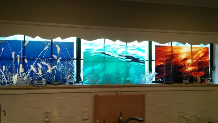 Glass Panels of Marilyn Suriyani's work - 8 to choose from
