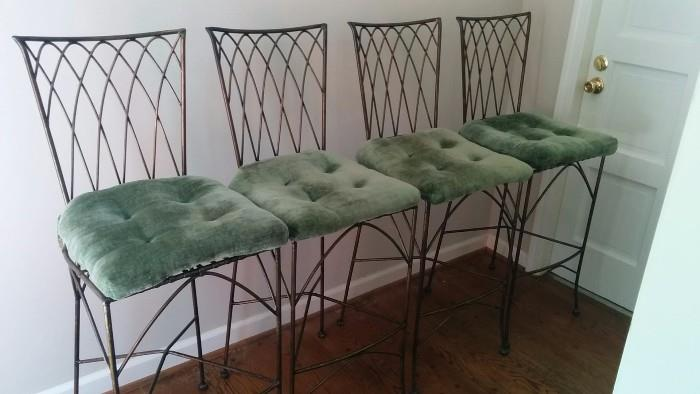 Set of 4 wrought iron and velvet barstools, made in the Phillipines