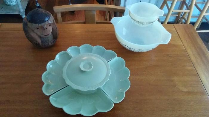 The perfect accessories for your MCM dining table: A celadon green, lazy susan serving dish, a levitating chip/dip dish and a coconut monkey!