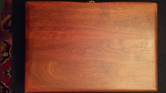 Top view of the mahogany silver chest