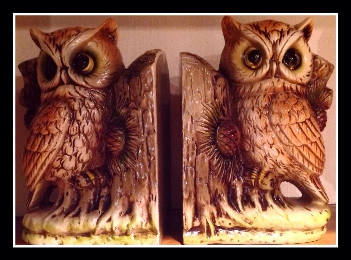 Retro Japan large owl bookends