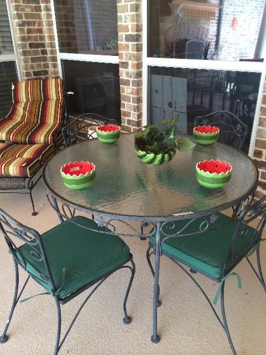 Patio lounger, table & chairs; darling watermelon dishes