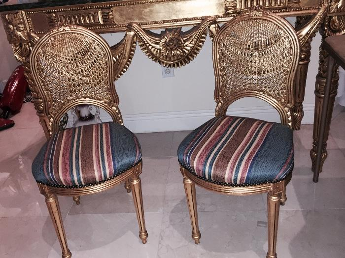 EGYPTIAN GOLD LEAF CHAIRS