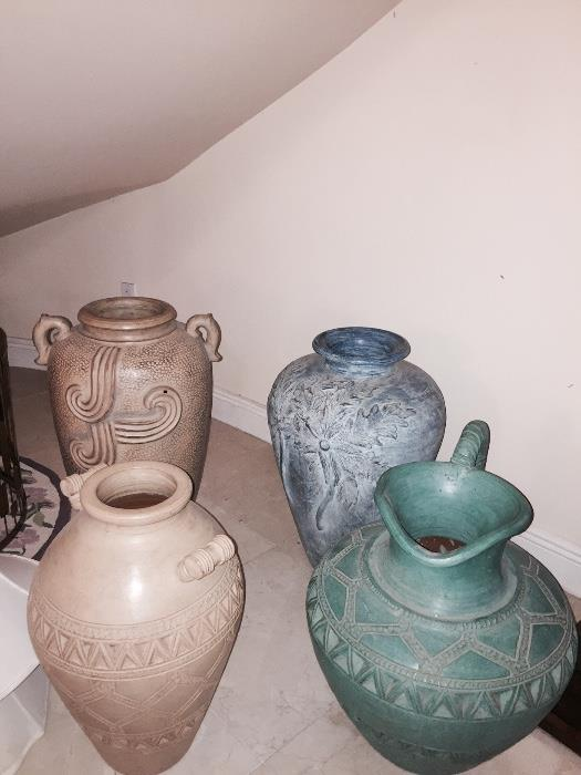 ASSORTED LARGE URNS & VASES