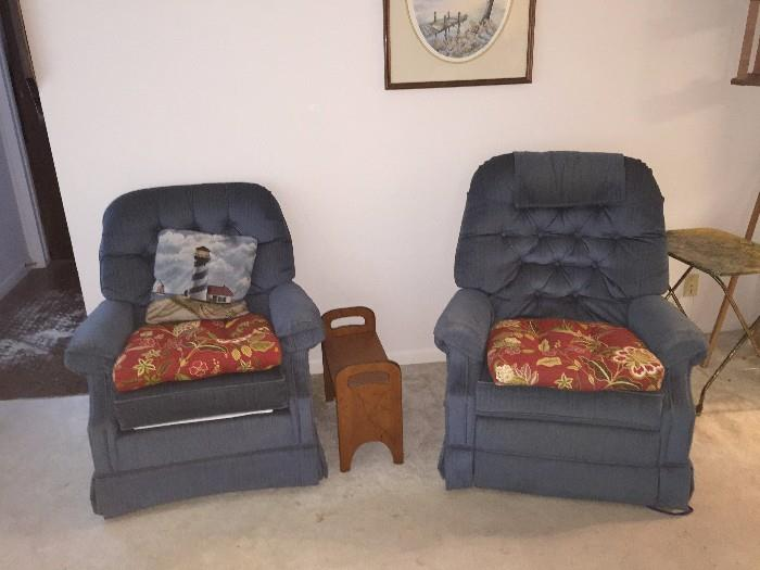 2 BLUE RECLINER CHAIRS