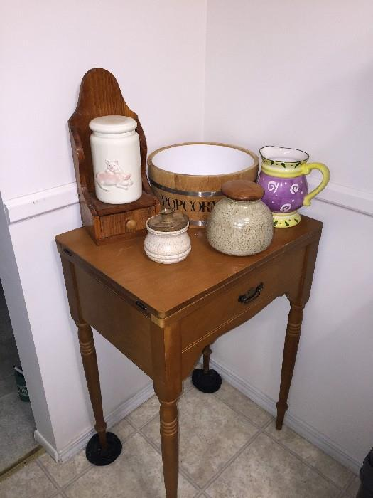 SEWING MACHINE TABLE AND POTTERY
