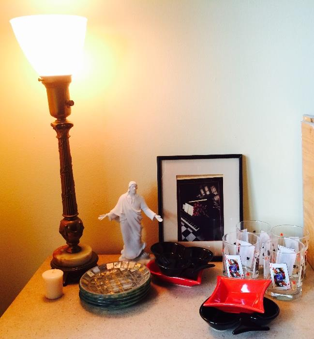 Torch Lamp, Religious Figurine and More