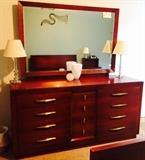 Dresser with Mirror, Glass Vanity Lamps, Kosta Boda