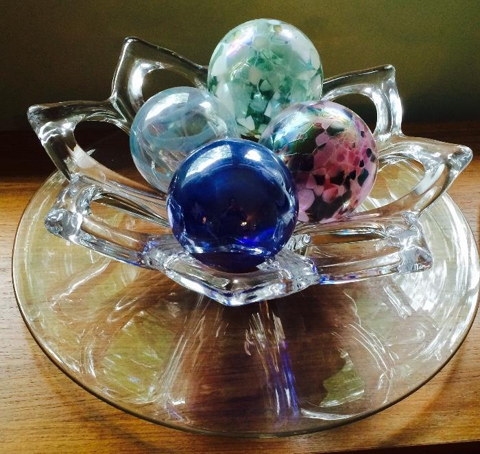 Hand Blown Glass, Art Vannes France Crystal Bowl