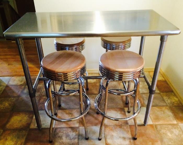 Stainless Steel Counter Height Table with Stools