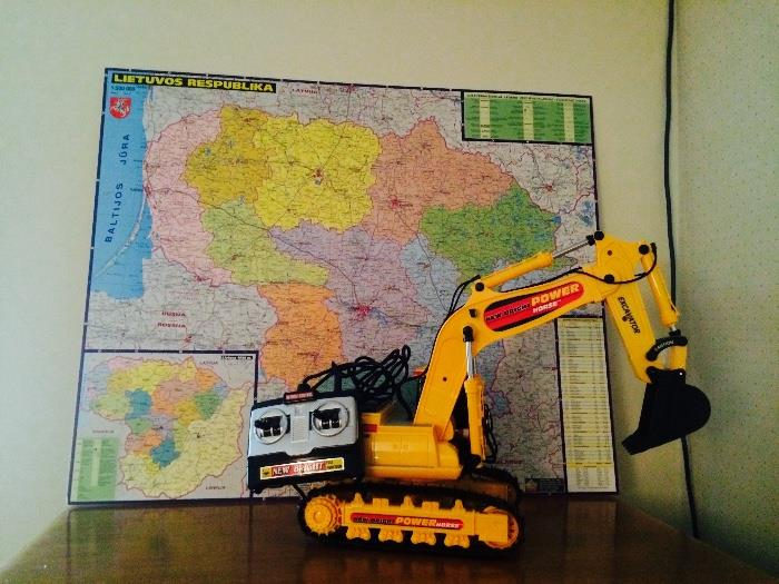 Map of Lithuania, Child's Electronic Back Hoe Toy