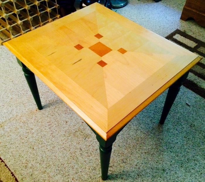 Oak & Green Painted End Table