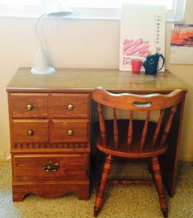 Vintage Kneehole Desk with Chair, Desk Lamp, Drawing Pad & More