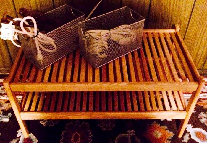 Slat Table, Metal Baskets, Extension Cords
