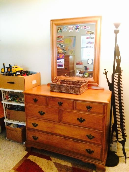 Vintage Dresser with Mirror, Lizard CD Rack, Standing Lamps, Vintage Children's Toys, and More