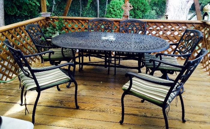 Heavy Iron Patio Table and Six Chairs with Cushions