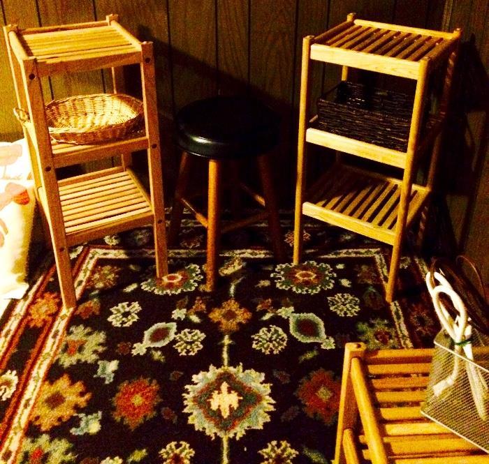 Slat Shelving, Vintage Stool, Area Rug and More
