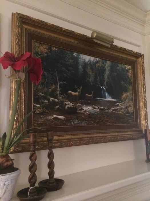 Larry Dyke's Isaiah 58:11 framed art; barley twist candle holders