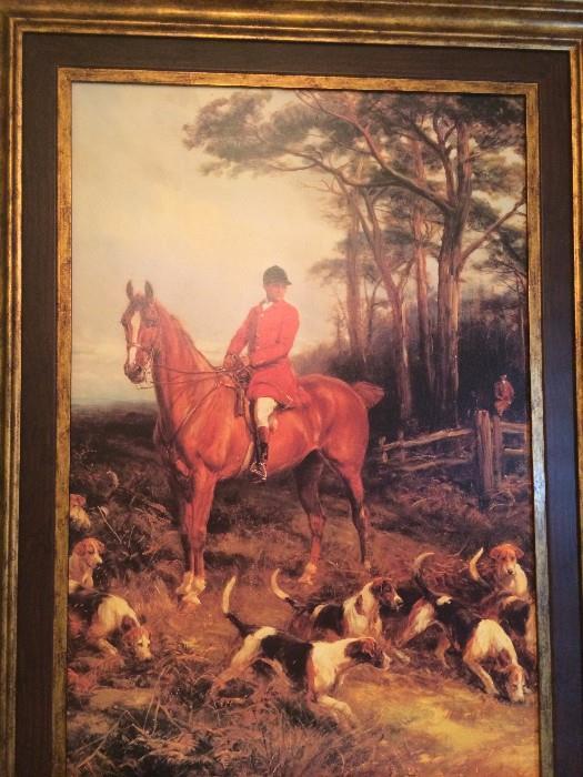 Large hunt scene framed art