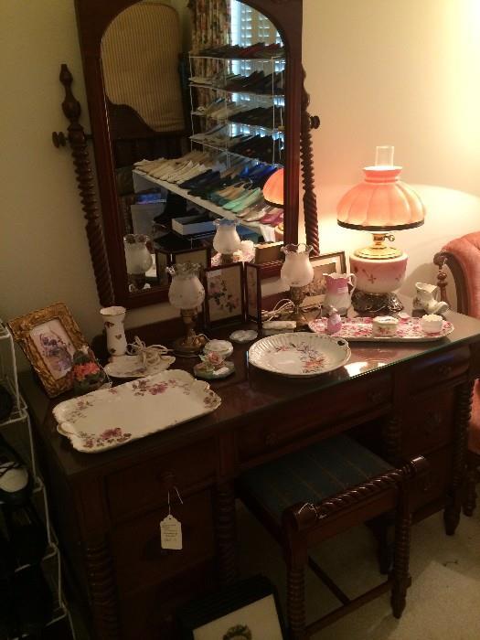 Antique dresser and vanity bench; dresser sets