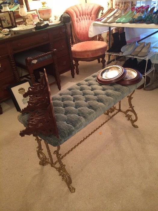 Antique bed bench