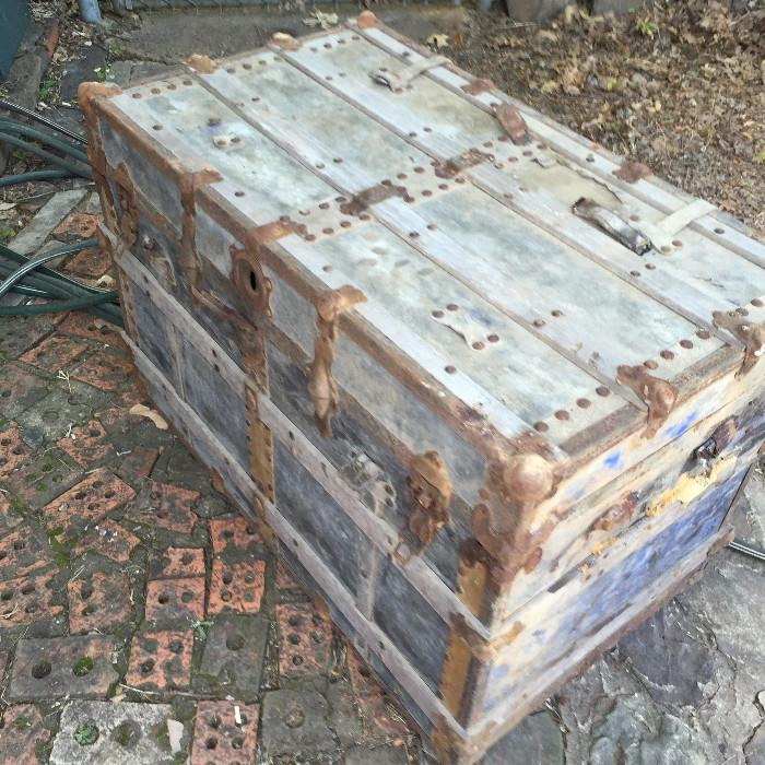 antique wood  luggage chest