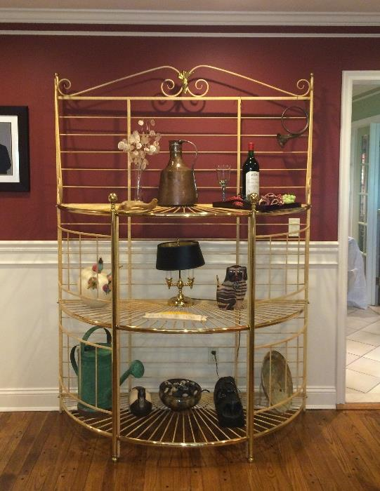 Big & beautiful brass & iron Bakers Rack