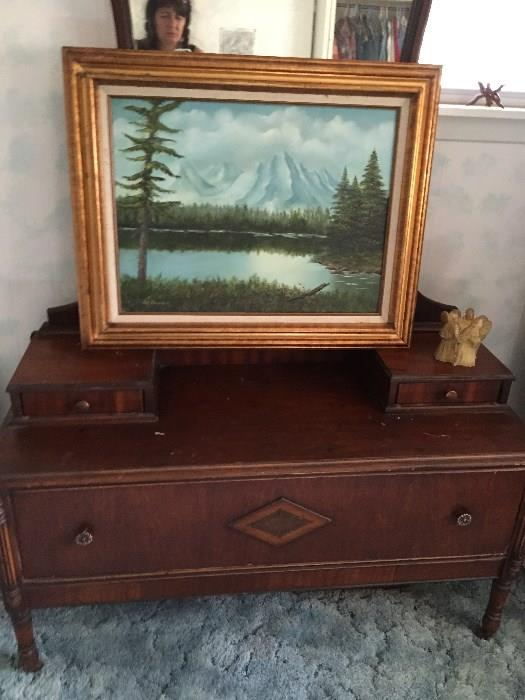 Antique Chest and original artwork