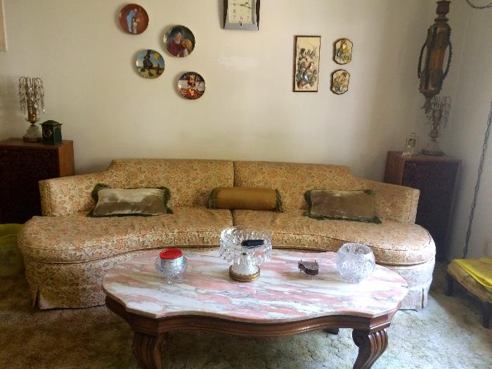 Retro, vintage sectional sofa & marble top coffee table