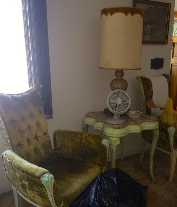 Pair tufted velvet chairs