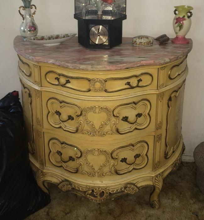 French Provincial demi-lune table