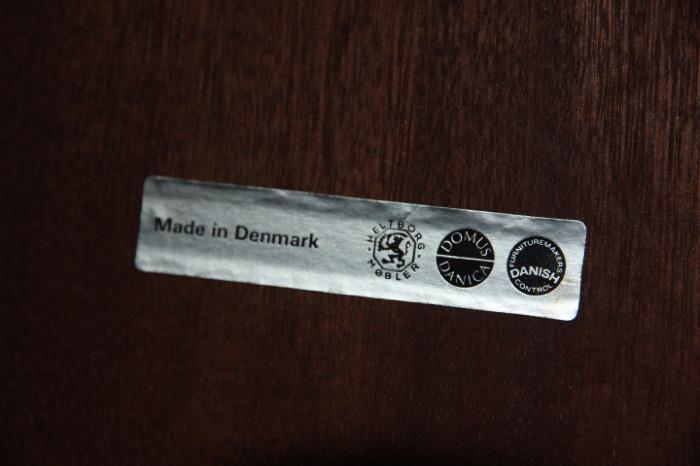 label on rosewood table:  Made in Denmark, Heltborg Mobler, Domus Danica