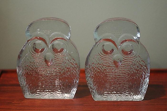 Midcentury Modern glass owl bookends