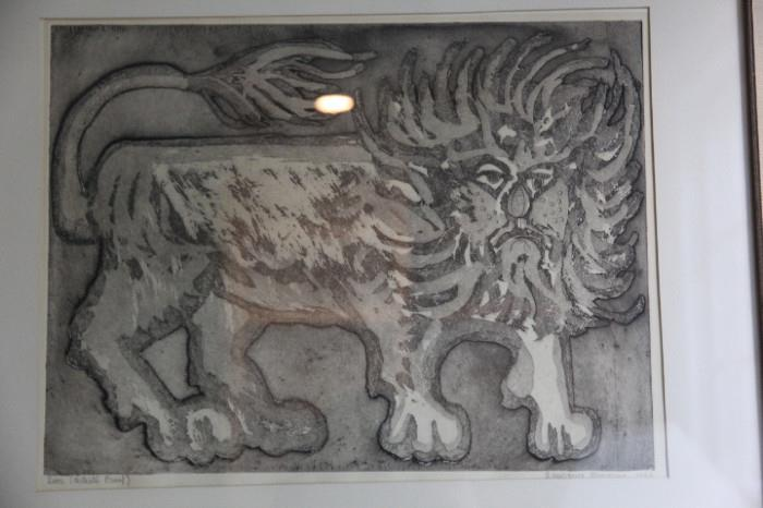 """""""Lion"""", signed artist's proof by Laurence Donovan, 1966"""