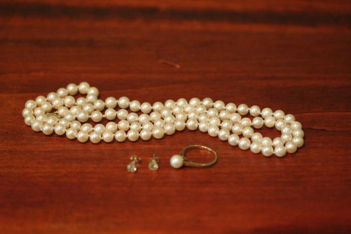 diamond and 14k gold earrings, pearl & 14K gold ring, pearl necklace with 14K gold clasp