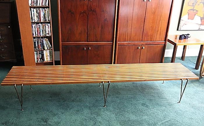 "Midcentury modern long slatted coffee table - 7'8"" length, 14"" height"
