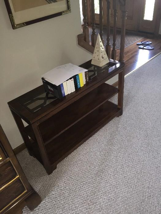 SMALL WOODEN SOFA TABLE WITH GLASS