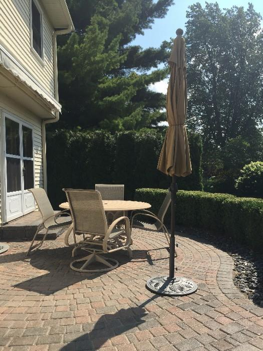 PATIO TABLE WITH CHAIRS AND UMBRELLA